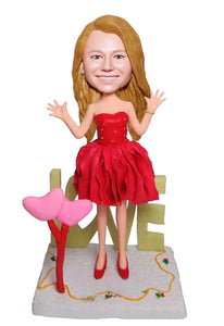 Custom Dress Girl Bobbleheads, Personalized Girlfriends Bobblehead Cheap Online - Abobblehead.com