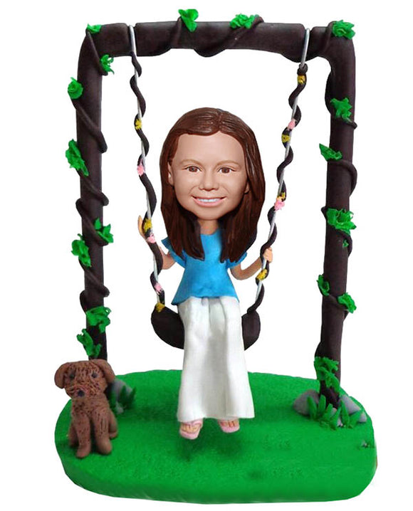 Custom Bobbleheads Girl Playing on The Swing and Dog - Abobblehead.com