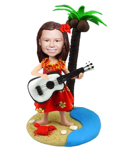 Custom Gril Beach Bobbleheads Play Guitar, Custom Bobblehead Holding Acoustic Guitar - Abobblehead.com