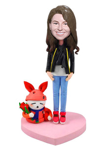 Custom Bobblehead Of Girlfriend, Best Friend Bobbleheads Girl With a Rabbit - Abobblehead.com