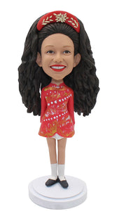 Personalized Bobblehead Long-haired Girl, Custom Made Female Bobblehead - Abobblehead.com