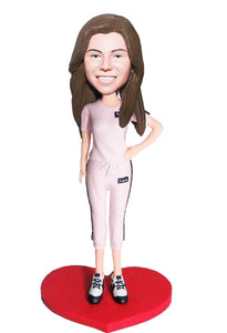 Custom Bobbleheads Casual Female, Create A Personalized Bobblehead - Abobblehead.com