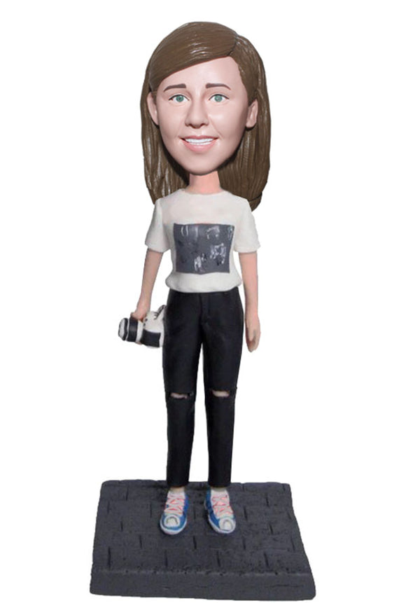 Custom Bobbleheads Holding The Camera Doll From Photo - Abobblehead.com