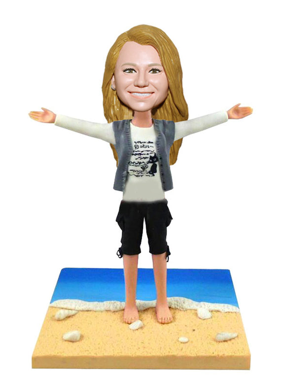 Custom Beach Bobblehead Walking by The Sea - Abobblehead.com