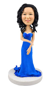 Custom Bobblehead Woman in Dress, Custom Wedding Party Bobbleheads - Abobblehead.com