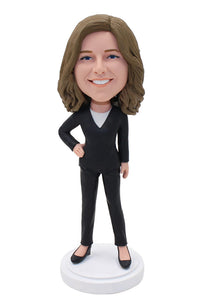 Bulk Custom Office Women Bobbleheads, Custom Business Suit Bobblehead Corporate - Abobblehead.com