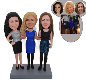 Custom Bobbleheads Three Sisters, Personalized Three People Family Bobblehead - Abobblehead.com
