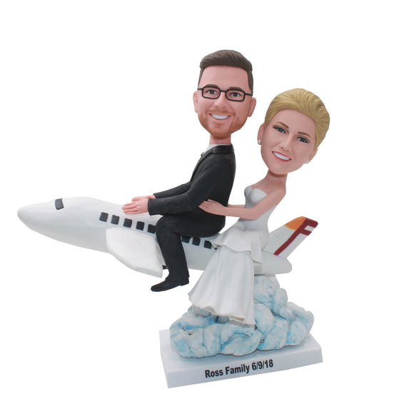 Custom Bobbleheads Wedding Cake Toppers, Personalized Airplane Gifts - Abobblehead.com