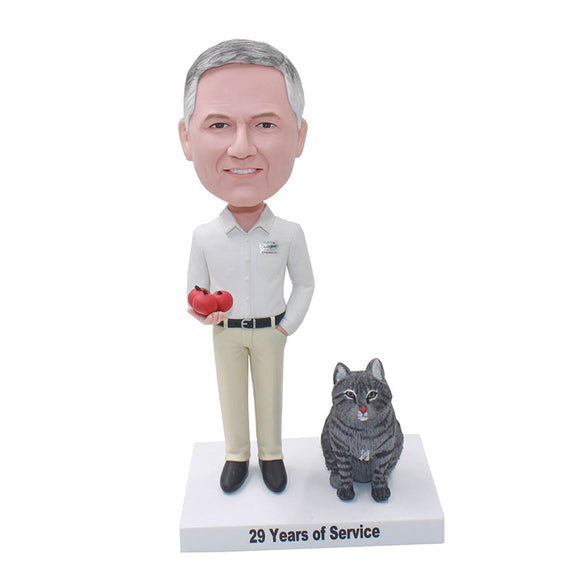 Custom Bobblehead Man And Black Cat With Smile - Abobblehead.com
