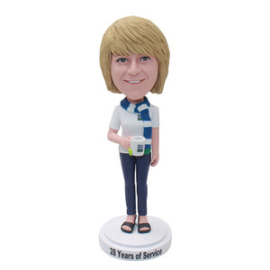 Personalized Women Bobblehead With Coffee Cup, Make Your Own Boblblehead - Abobblehead.com