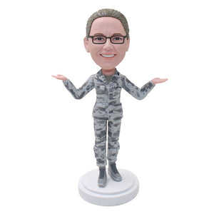 Personalized Bobblehead Camouflage Photo Gifts For Girl - Abobblehead.com