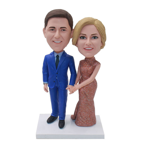 Custom Anniversary Couple Bobblehead Of Yourself Free Shipping - Abobblehead.com