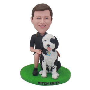 Custom Bobblehead With Dog, Custom Man Dolls That Look Exactly Like You - Abobblehead.com