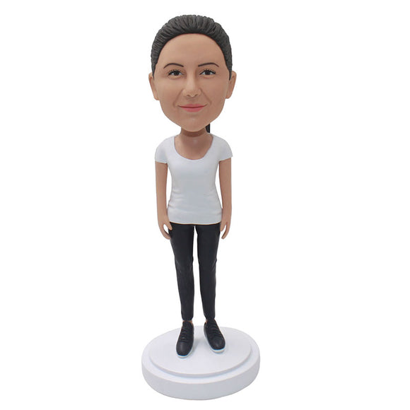 Make Casual Wear Bobbleheads Of Women From Your Photos, Create Your Own Bobbleheads Doll That Looks Like You - Abobblehead.com