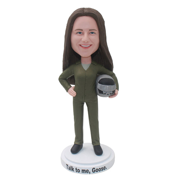 Custom Aviation Suit Bobbleheads Of Women From Your Photos - Abobblehead.com