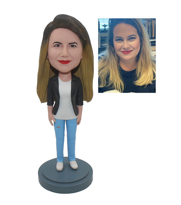 Custom Women Bobbleheads For Girlfriends, Custom Suit Bobblehead Free Shipping - Abobblehead.com
