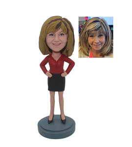 Buy Customized Women Bobblehead, Personalized Skinny Leather Jacket Action Figure - Abobblehead.com