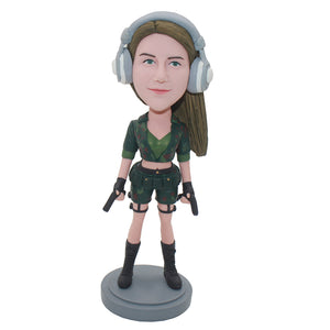 Creat Your Own Amrican Girl Bobblehead With A Headset That Looks Like You - Abobblehead.com