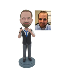 Custom Jacket Bobble Heads From Photo For Colleague & Friend & Husband, Custom Bobbleheads Jackets Corporate Gifts - Abobblehead.com