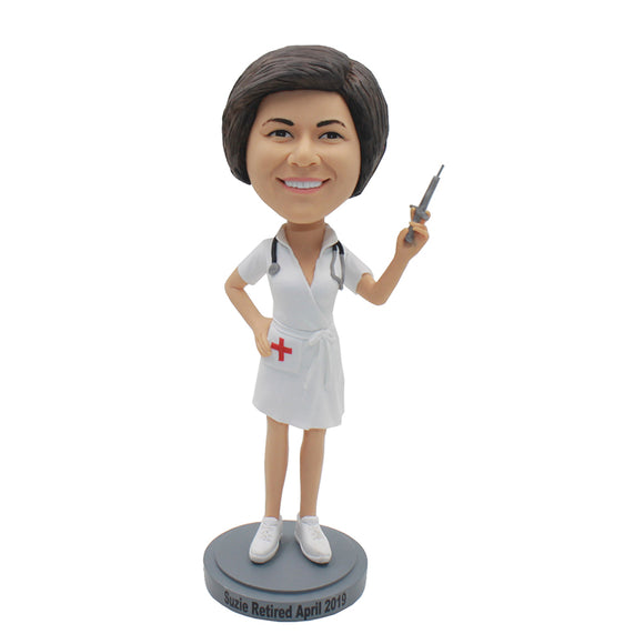 Personalized Female Doctor Statues Figurine From Your Photos, Custom Bobbleheads Doctor Holding A Needle Tube - Abobblehead.com