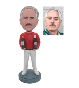 Cheap Custom Man Bobbleheads Dragging Two Wine Bottles, Custom Bottle Bobble Heads - Abobblehead.com