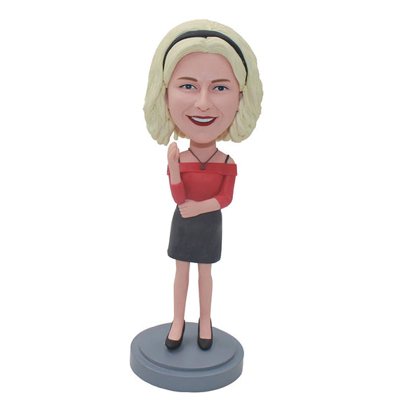 Custom Women Bobblehead, Personalized Bobblehead of Girlfriend - Abobblehead.com