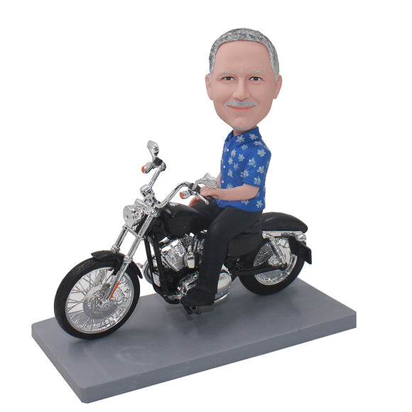 Custom Bobblehead On Motorcycle, Personalized Custom Bobble Head Man Motorcycle - Abobblehead.com