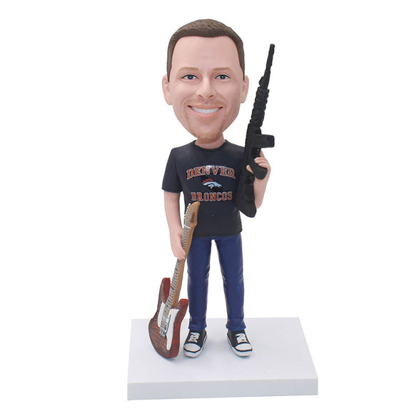 Personalized Bobblehead With Submachine Gun And Guitar From Your Photos - Abobblehead.com