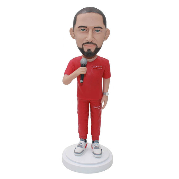 Customized Boobleheads Singer, Personalized Bobblehead Gifts For President of Company - Abobblehead.com