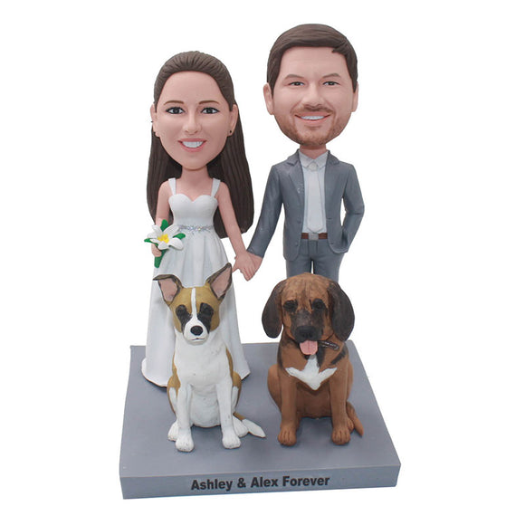 Custom Wedding Bobbleheads With Pets Dogs, Custom Wedding Cake Toppers Made To Look Like You - Abobblehead.com