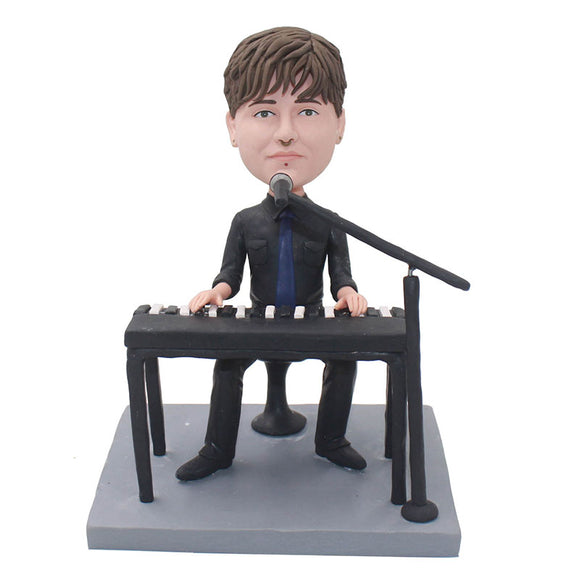 Custom Bobbleheads Singer And Electronic Organ, Personalized Music Director Bobblehead - Abobblehead.com