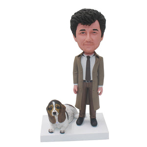 Custom Bobblehead With Dog From Photo, Custom Made Man And Dog Bobbleheads - Abobblehead.com