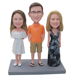 Custom Bobbleheads Three People Couple And Mother, Personalized Three People Family Bobblehead - Abobblehead.com