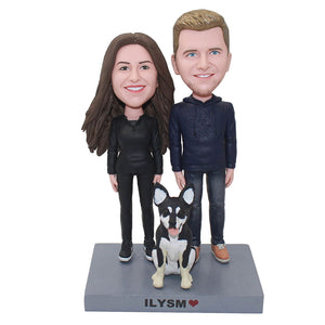 Custom Bobbleheads Anniversary Couple With A Dog, Personalized Bobblehead Couples Dolls Of Yourself - Abobblehead.com