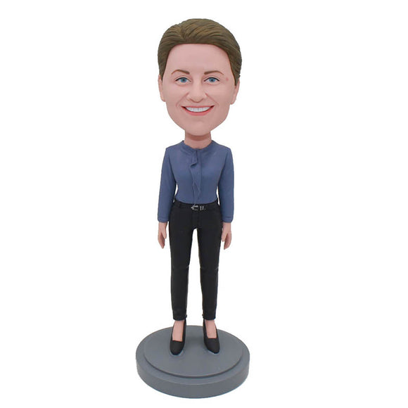Custom Senior White Collar Bobbleheads Boss Day Gifts For Her - Abobblehead.com