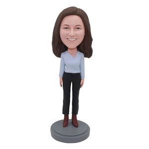 Custom Casual Wear Bobbleheads Doll That Look Like You, Super Cool Gifts For Girlfriend - Abobblehead.com