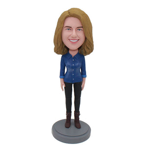 Custom Jeans Bobbleheads Doll That Look Like You, Gifts For Girlfriend Birthday - Abobblehead.com