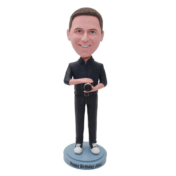 Custom Bobbleheads Man with Camera, Personalized Cameraman Bobblehead - Abobblehead.com