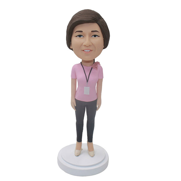 Personalized Women Bobblehead With A Work Permit, Nice Xmas Gifts For Women Coworker - Abobblehead.com