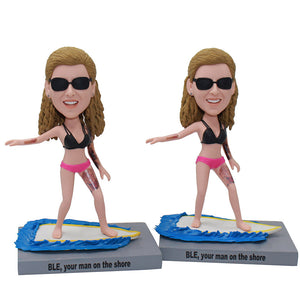 Custom Beach Surfing Template Bobblehead For Women In Bikini - Abobblehead.com