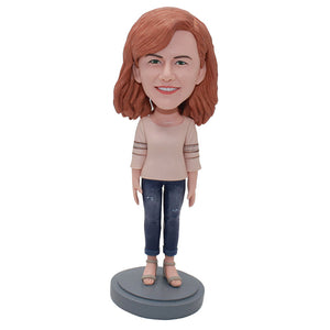 Personalized Red Hair Girl Bobblehead Wearing Jeans, Christmas Gifts For Fashion Girl - Abobblehead.com