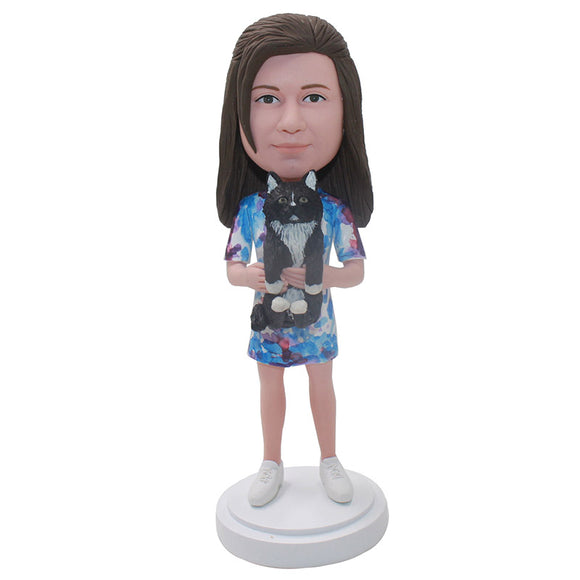 Personalized Girl Bobblehead Girl Hugging A Cat Christmas Gifts For Daughters - Abobblehead.com