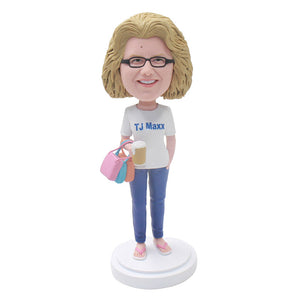 Custom Women Bobblehead Shopping Expert Holding A Cup - Abobblehead.com