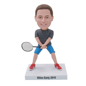 Custom Bobble Head Badminton Figurines Of Yourself, Custom Bobbleheads Playing Tennis - Abobblehead.com