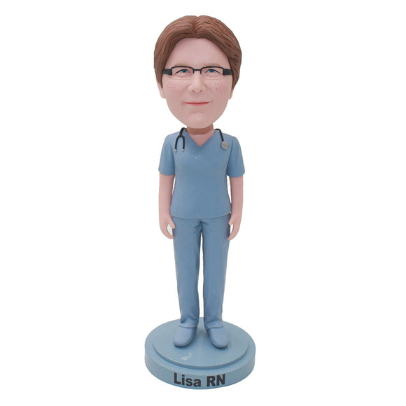 Custom Doctor Bobblehead Female With A Stethoscope, Personalized Female Doctor Statues - Abobblehead.com