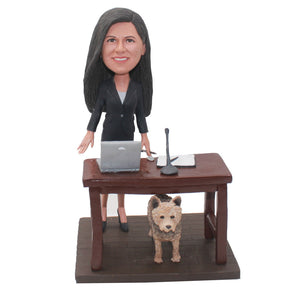 Custom Amazing Bobblehead Office Desk With Dog, Make A Bobblehead At Work With Desk - Abobblehead.com