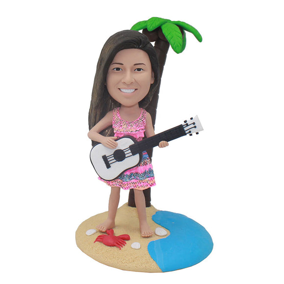 Beach Theme Custom Girl Bobblehead Playing Guitar, Custom Music Bobbleheads - Abobblehead.com