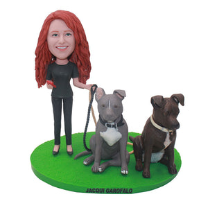 Custom Man Bobbleheads And 2 Pet Dogs, Custom Bobblehead With Dog From Photo - Abobblehead.com