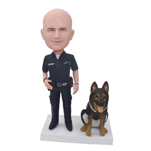 Custom Policeman Bobblehead With Police Dog, Custom Bobblehead Police Officers For Gift - Abobblehead.com