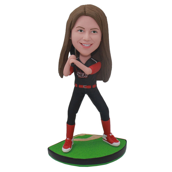 Custom Bobbleheads Baseball Girl Best Gift For Young Baseball Player - Abobblehead.com